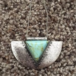 Long silver and turquoise necklace and bracelets